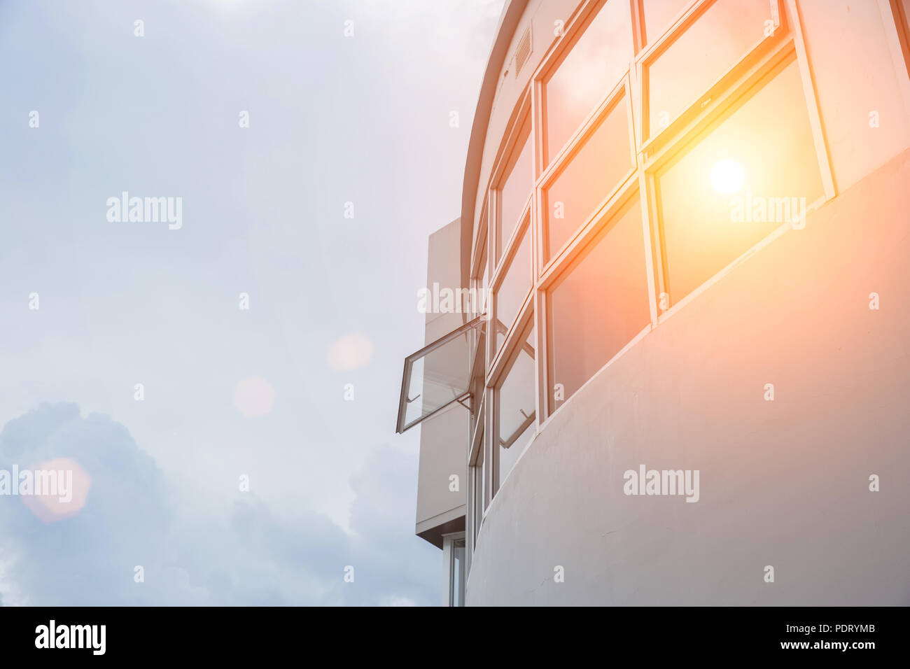 Hot weather high sunny day office windows UV protection exterior outdoor - Stock Image