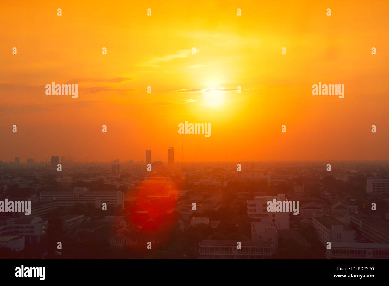 Thailand city view in heatwave summer season high temperature from global warming effect - Stock Image
