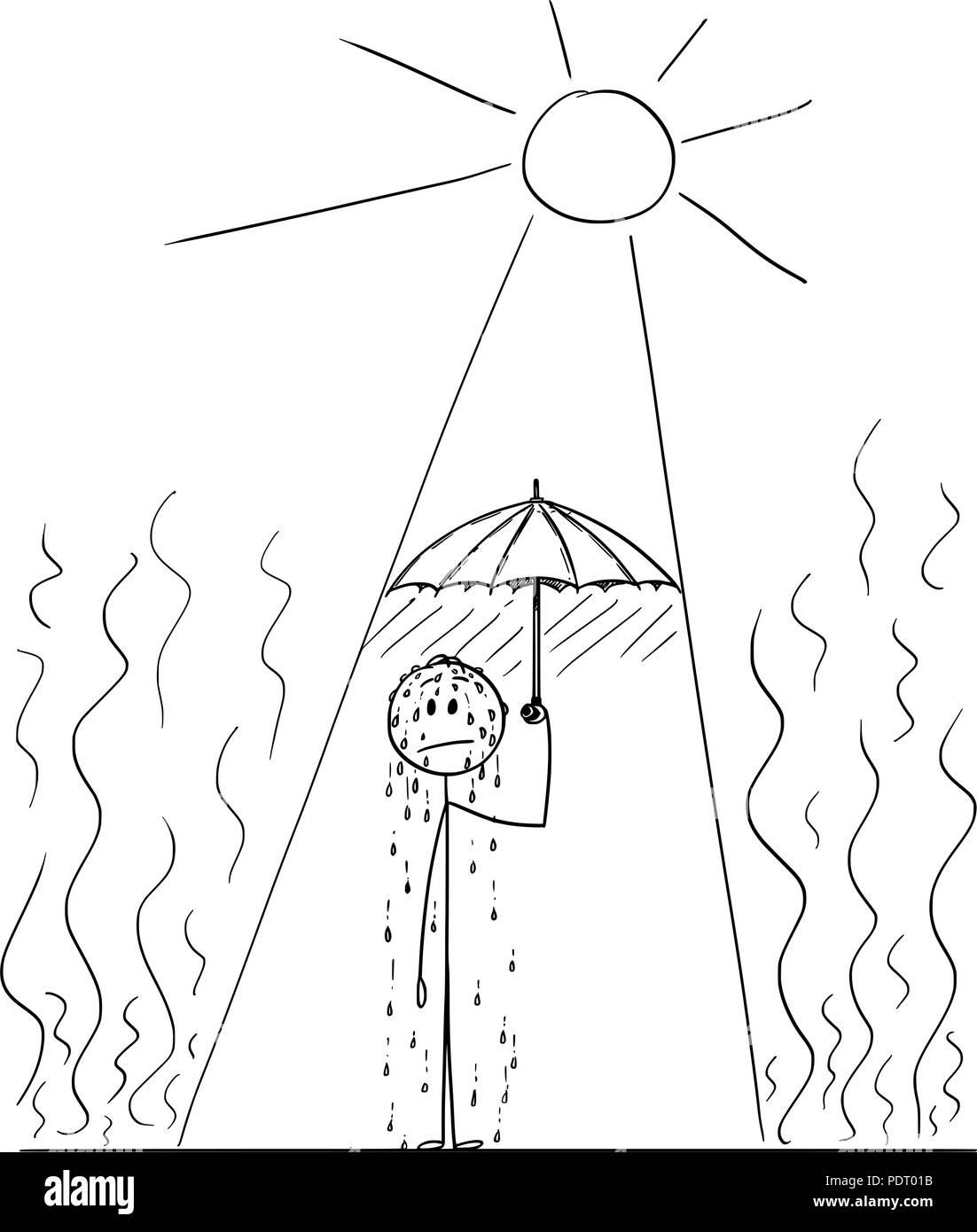 Cartoon of Sweating Man in Hot Summer Heat Hiding Under Umbrella - Stock Vector