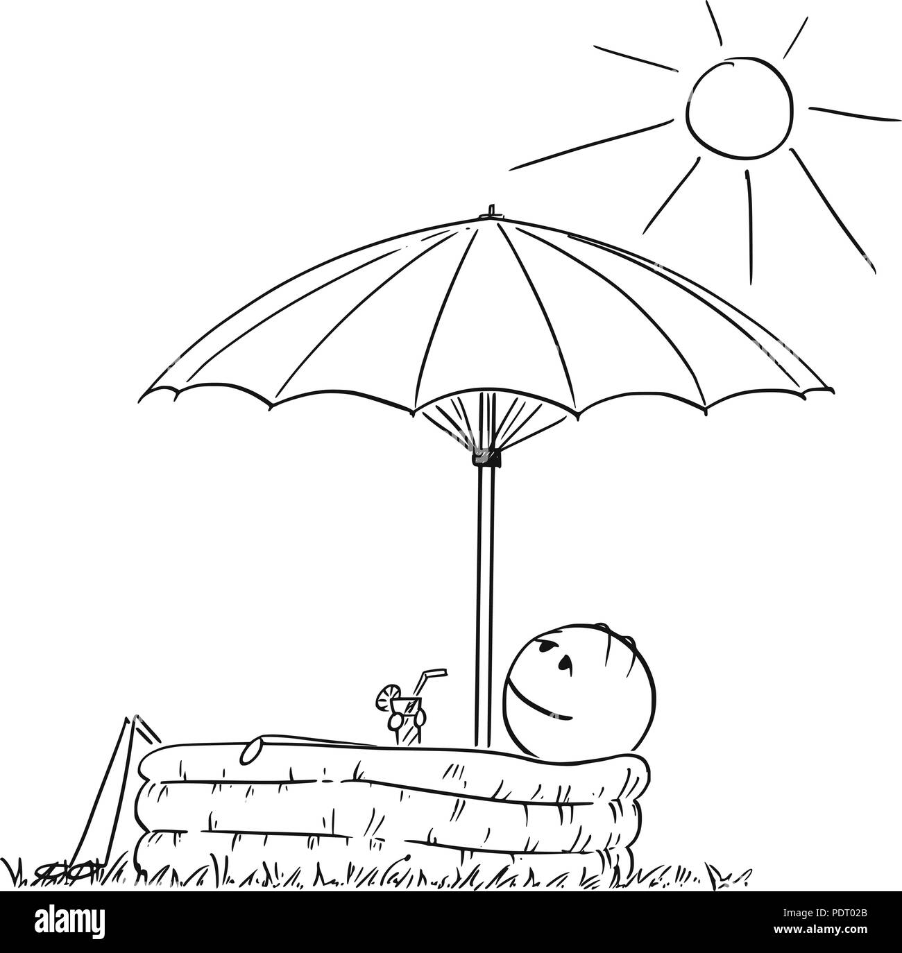 Cartoon of Man Enjoying in Inflatable Pool Under Umbrella With Drink in Hand - Stock Vector
