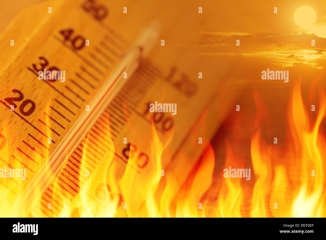 global warming climate change sign high temperature thermometer fire concept - Stock Image