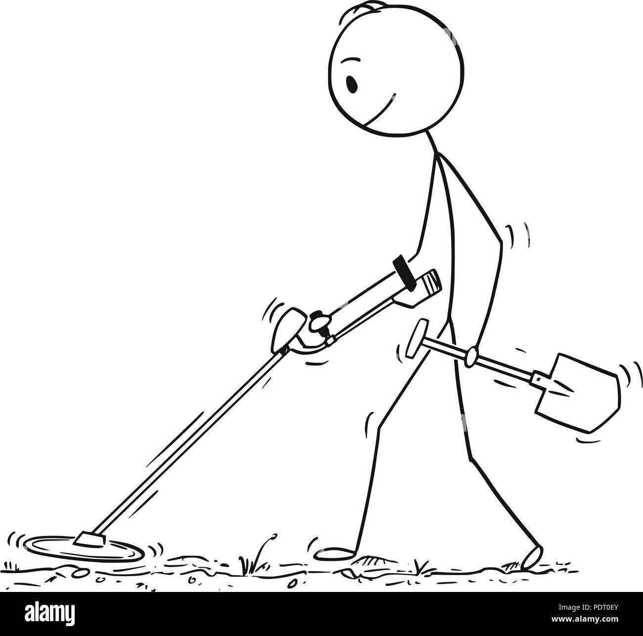 Jew Detector: Cartoon Of Man Searching For Treasure With Metal Detector