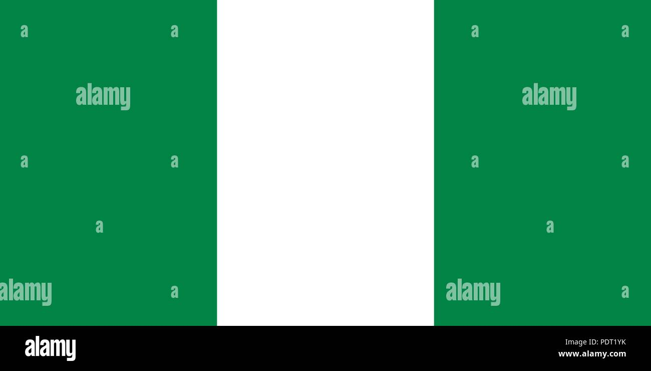 Vector image for Nigeria flag. Based on the official and exact Nigerian flag dimensions (2:1) & colors (348C and White) - Stock Vector