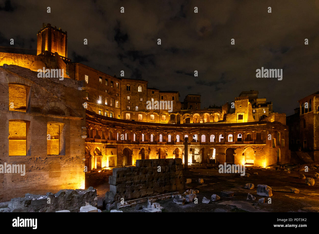 Night scene of the Trajan's market ruins at the Trajan's Forum, Rome, Italy. - Stock Image