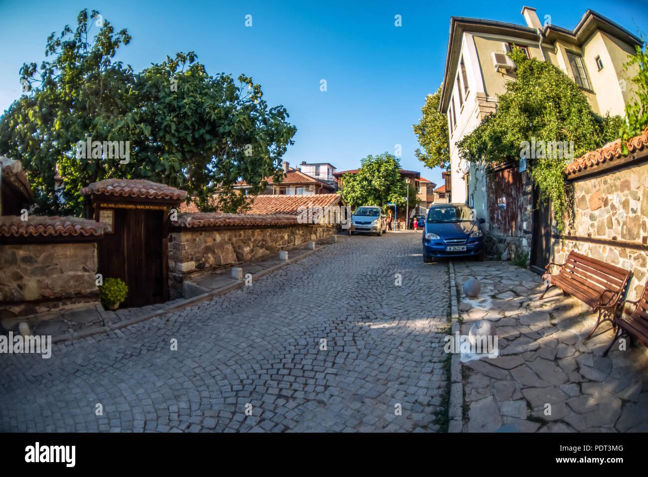 Sozopol, Bulgaria - September 11, 2016: Fisheye street view of Sozopol old town Stock Photo