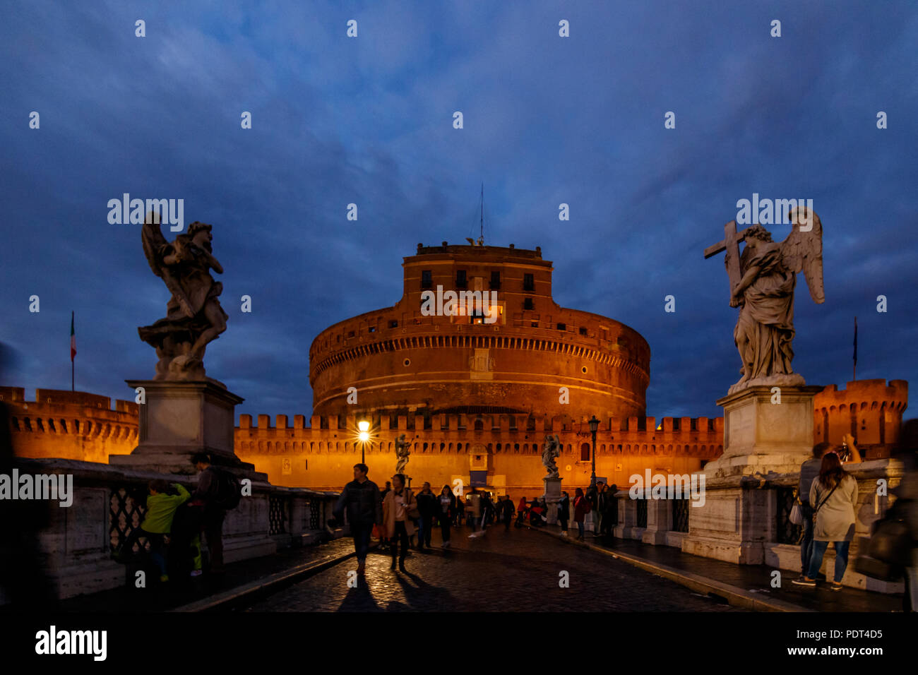The St. Angelo's Castle in Rome (Italy) at the blue hour special light. - Stock Image