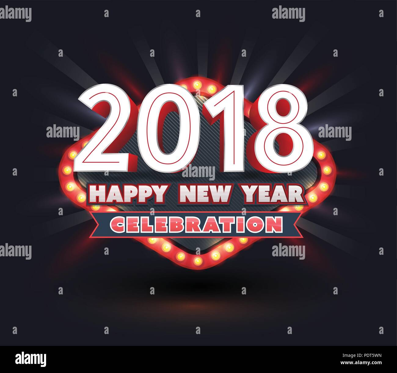 2018 happy new year celebration banner light retro style vector illustration