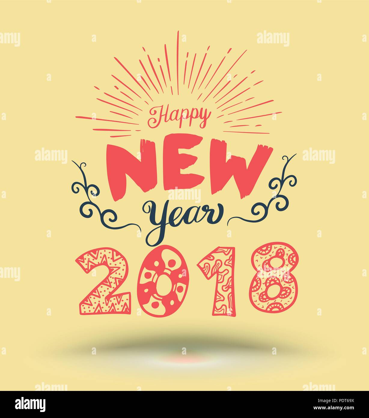 Happy New Year Lettering Element For New Year Greeting Card And