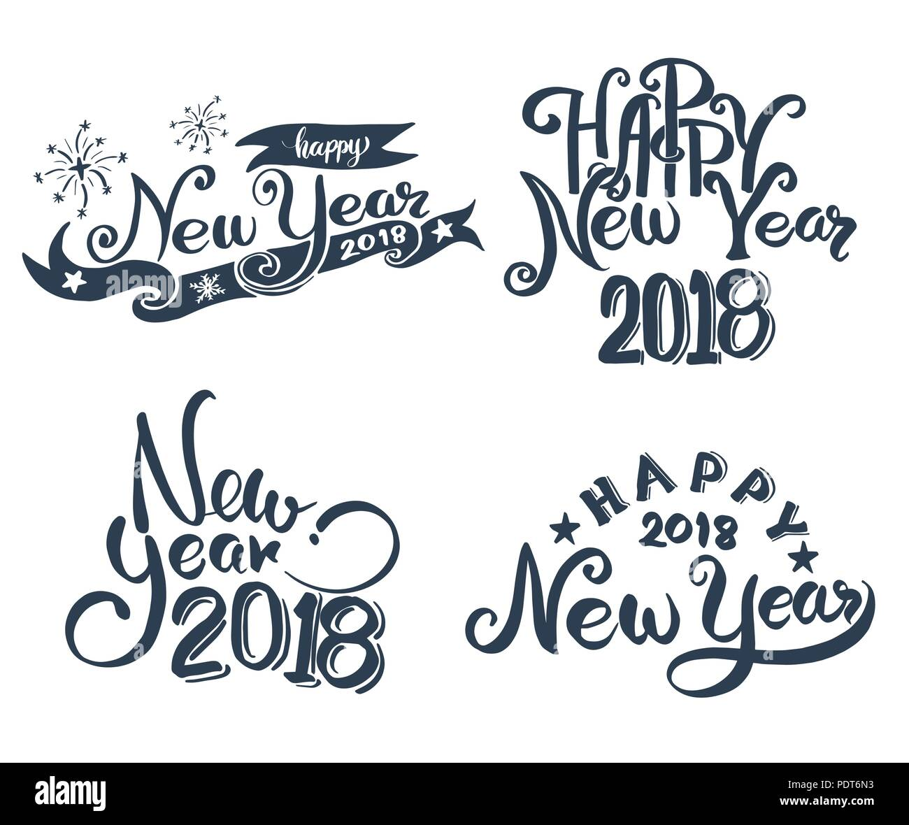 happy new year 2018 hand lettering set for new year card and poster promotion advertising vector illustration