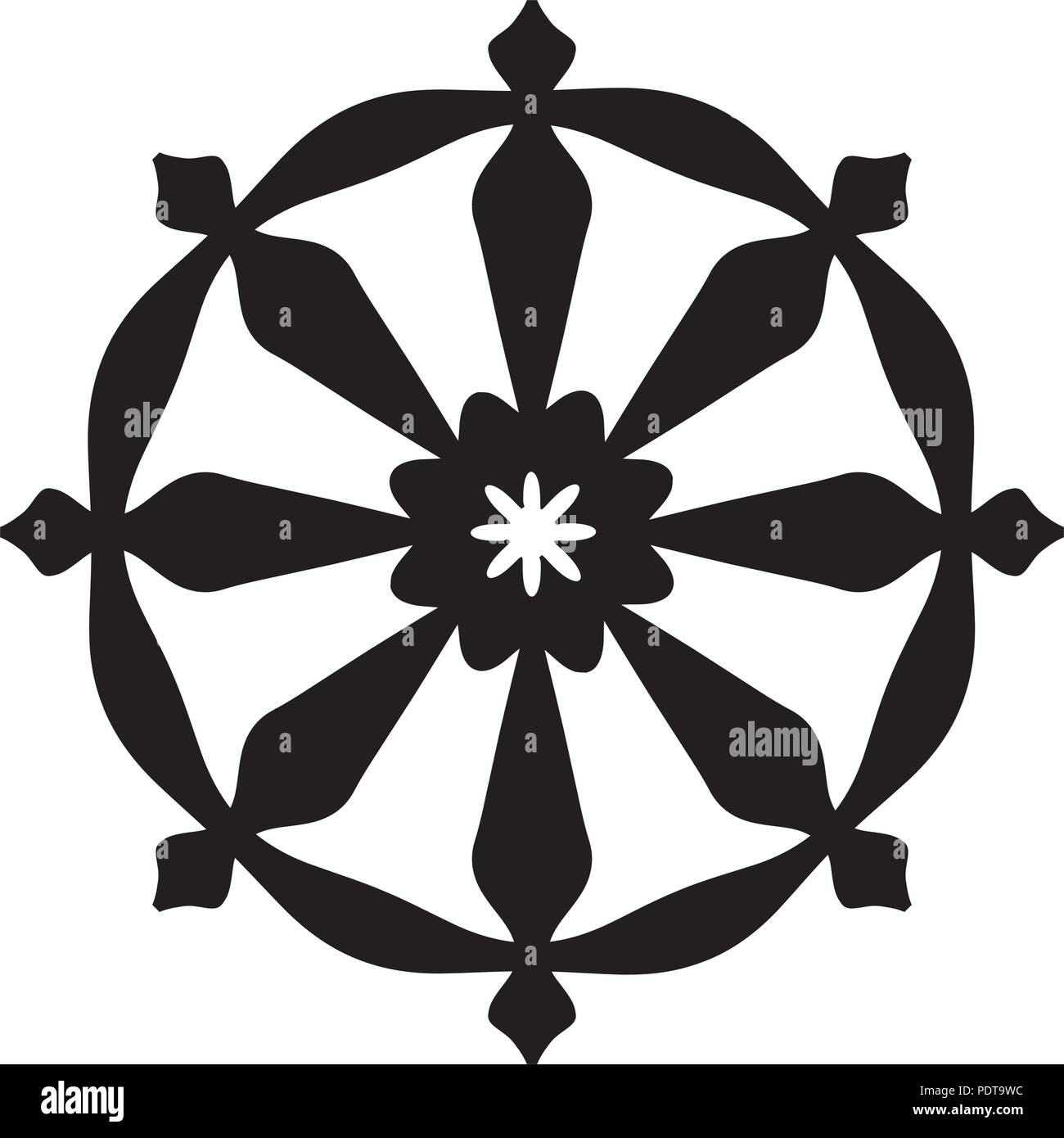 The Wheel of Samsara — Oriental Sacral Religious Symbol of Reincarnation: the cycle of death and rebirth to which life in the material world is bound. Stock Vector