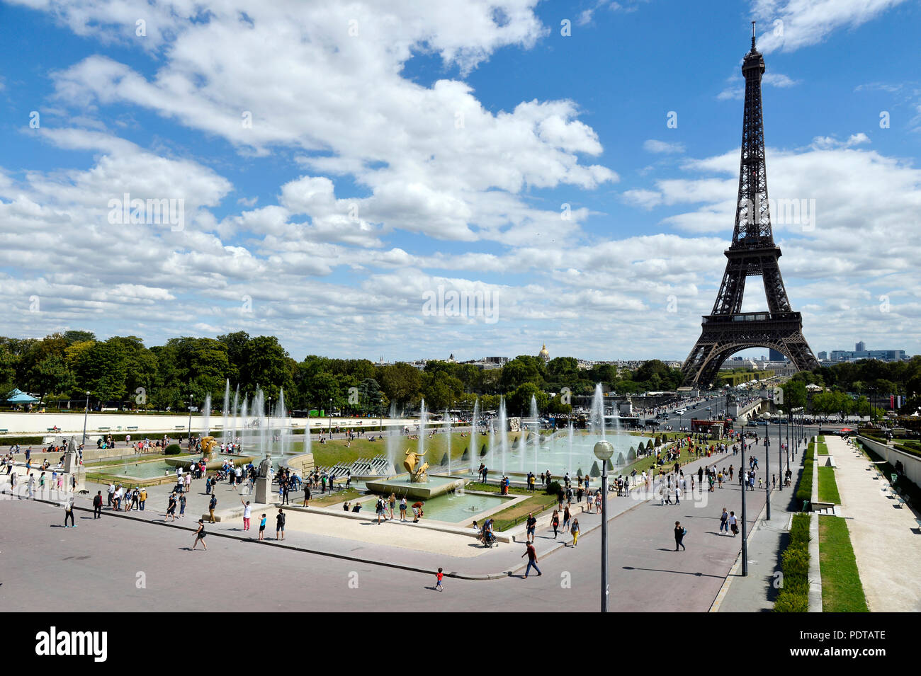 Heat wave in Paris - Trocadéro - Paris - France - Stock Image