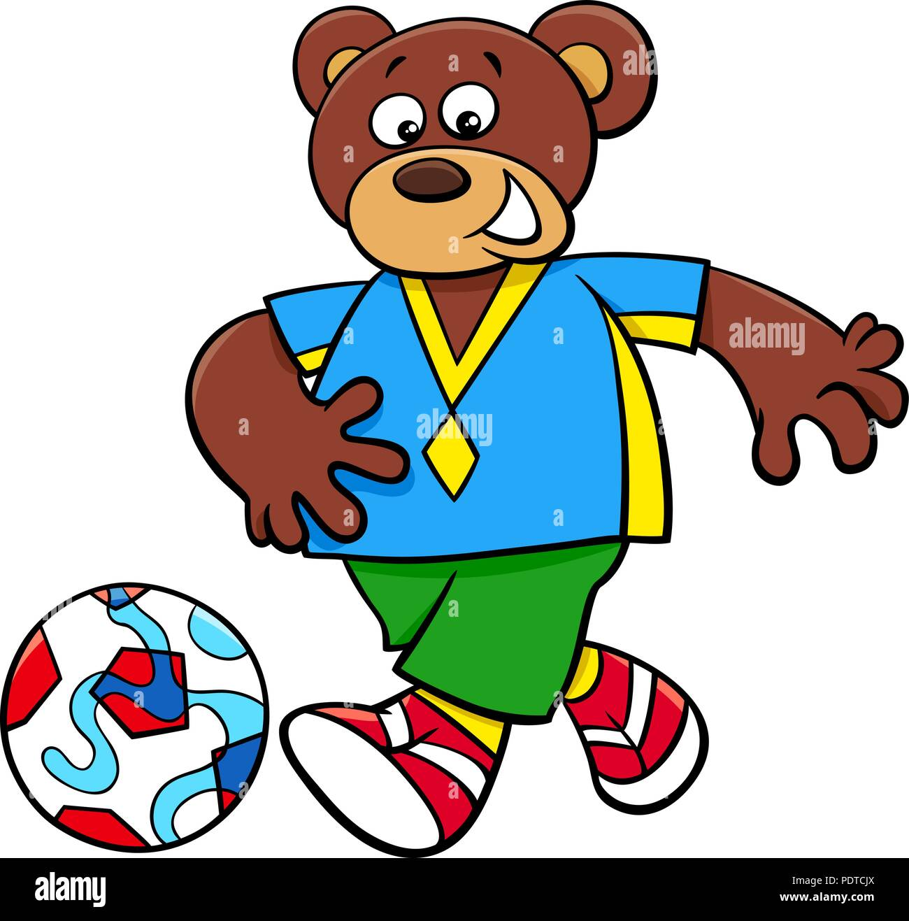 Cartoon Illustrations of Bear Football or Soccer Player Character with Ball - Stock Vector