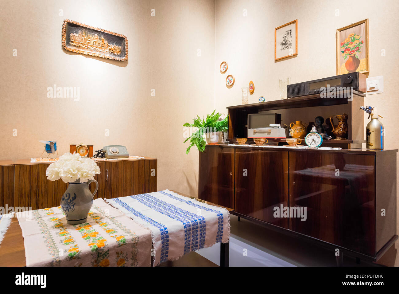 View of a typical Polish family living room dating from the 1970s