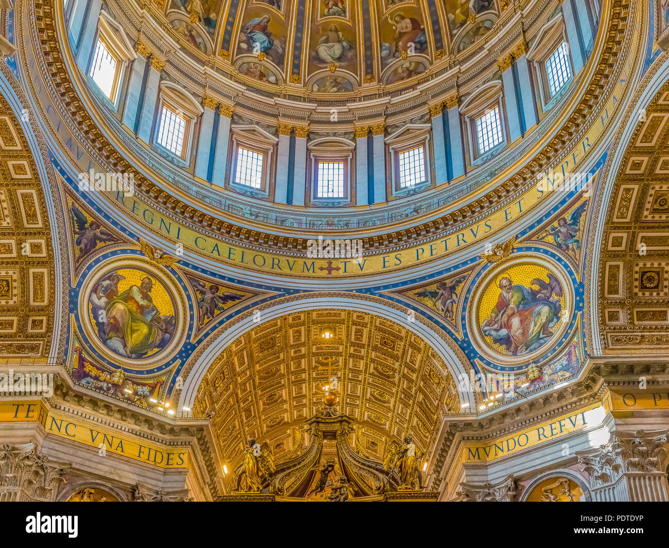 Vatican city, Vatican - October 12, 2016: Ornate interior of the Saint Peter's Basilica in Vatican City - Stock Image