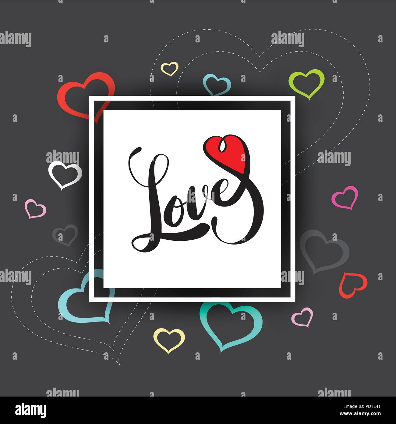 Vector Hand Drawn Love Lettering With Heart Rectangle Frame Can Be