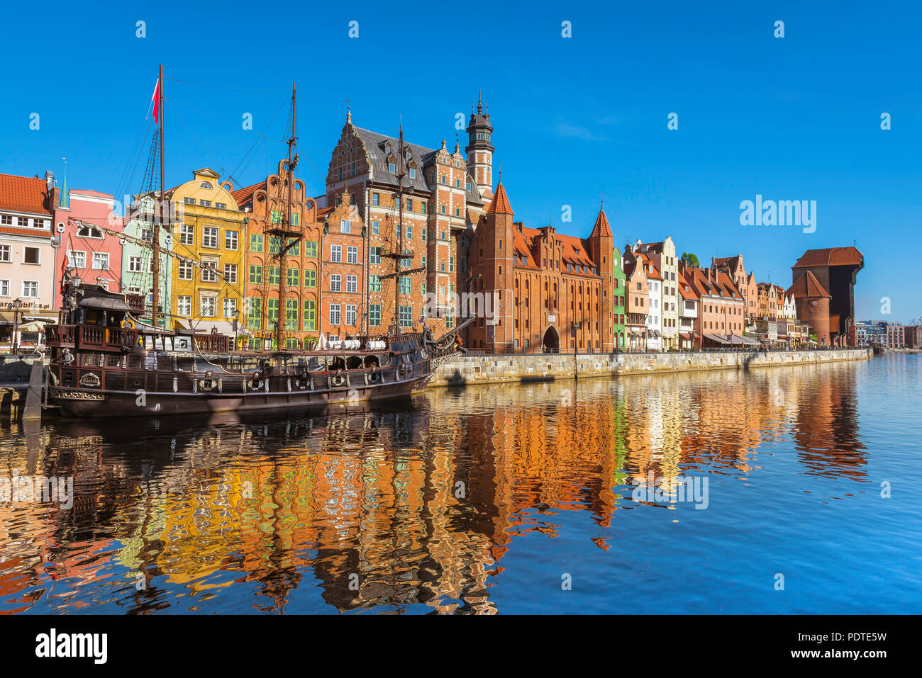Gdansk Poland River Motlawa, view at sunrise of the Old Town waterfront area in the center of Gdansk, Pomerania, Poland. Stock Photo