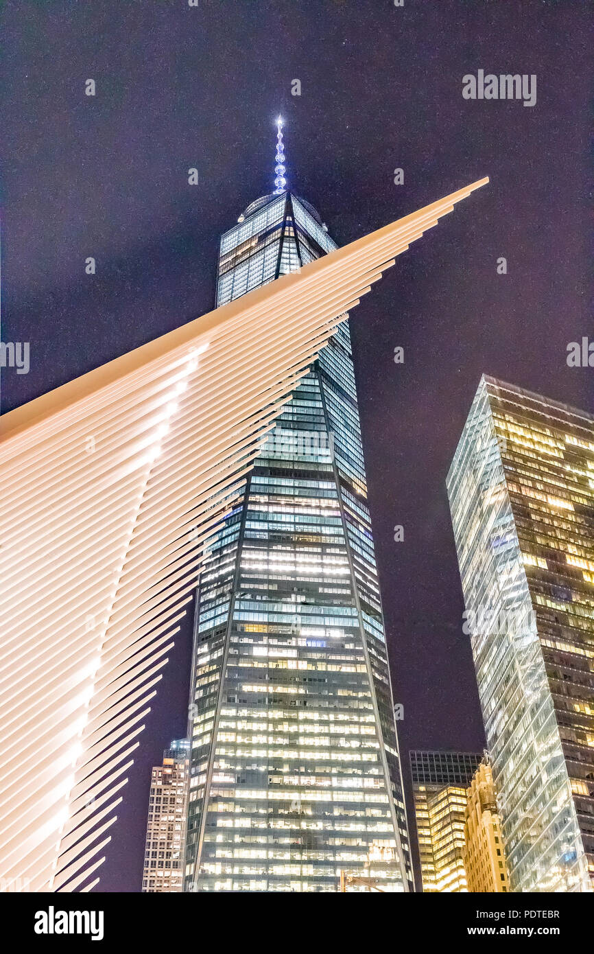 New York - May 31, 2016: World Trade Center Freedom Tower in Lower Manhattan. The Occulus is a Transportation Hub and Westfield Shopping Center, desig Stock Photo