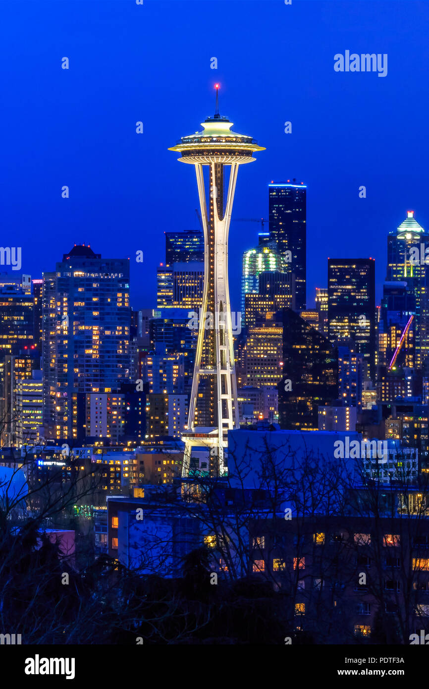 Seattle, WA - February 26, 2017: Seattle skyline with the Seattle Space Needle at sunset view from Kerry Park - Stock Image