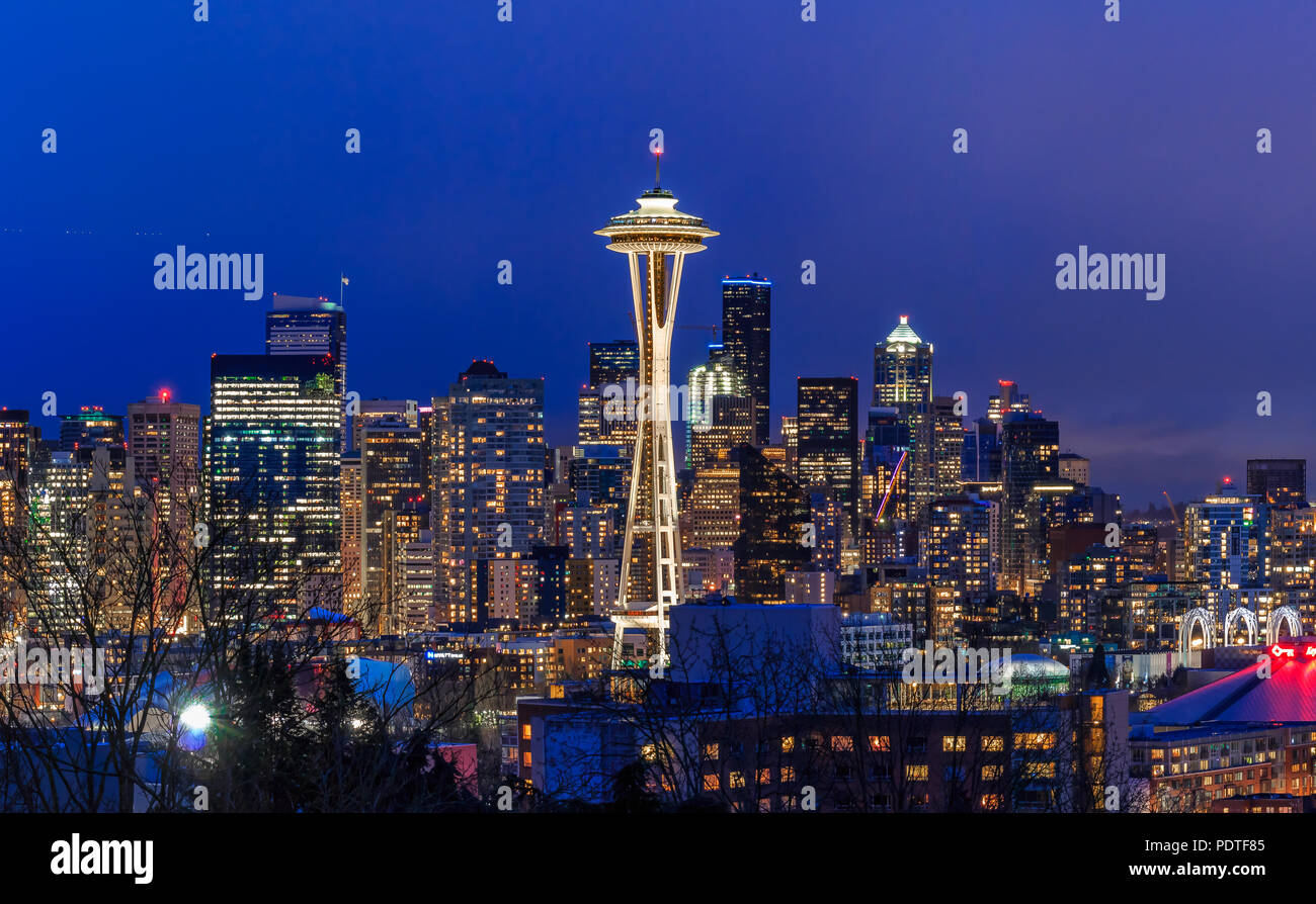 Seattle, WA - February 26, 2017: Seattle skyline panorama with the Seattle Space Needle at sunset view from Kerry Park in - Stock Image