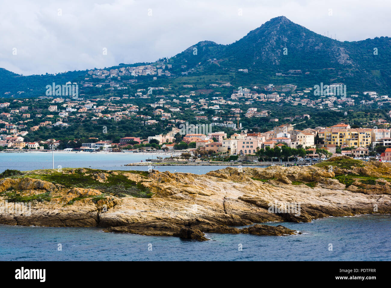 View from Île de la Pietra (Pietra Island) towards L'Île-Rousse, Corsica, France - Stock Image