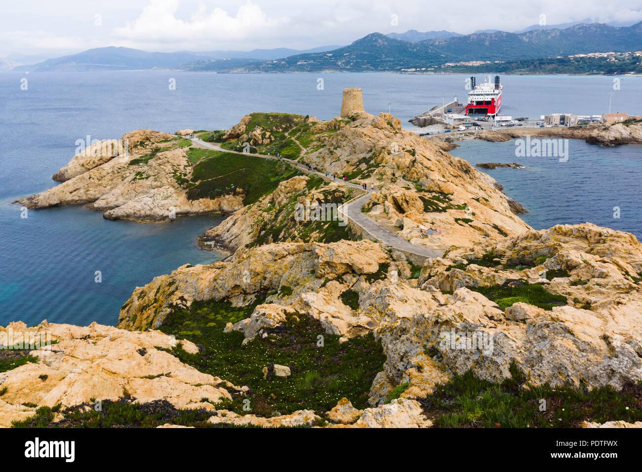 Île de la Pietra (Pietra Island), L'Île-Rousse, Corsica, France - Stock Image