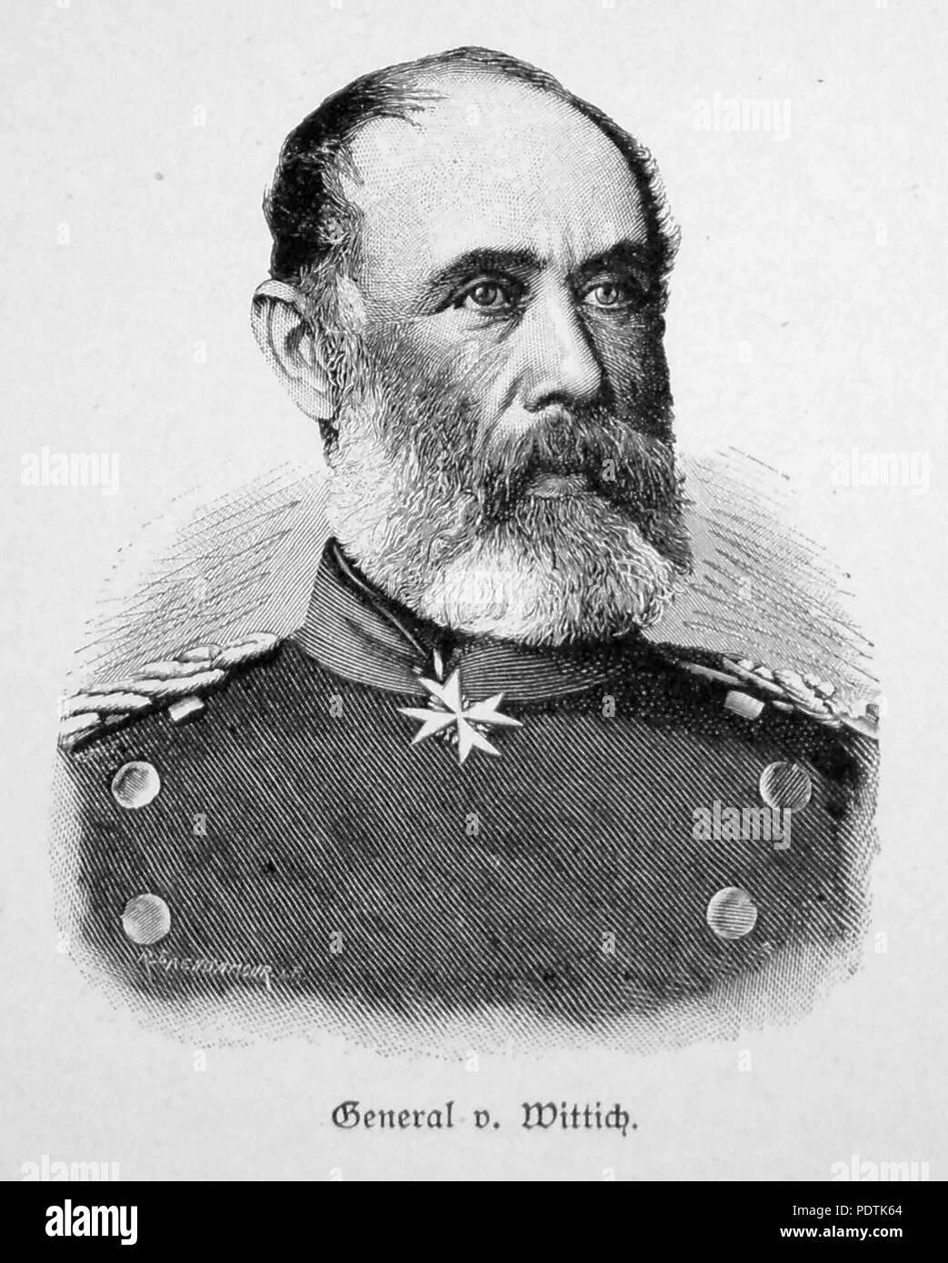 ADOLF HEINRICH von WITTICH (1836-1906) Prussian Field Marshall in an 1885 engraving - Stock Image