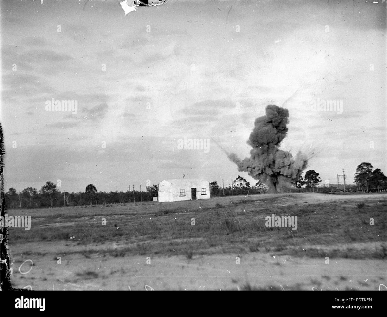183 SLNSW 8039 Aero Pageant at Hargrave Park aerial bombing of a dummy house - Stock Image