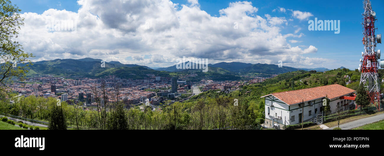 Beautiful skyline of Bilbao from a mountain viewpoint, Spain - Stock Image
