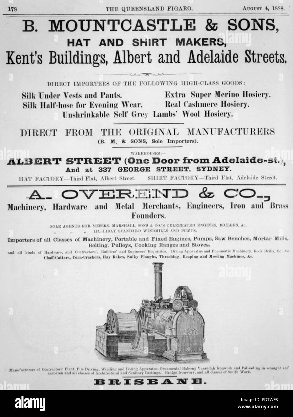 209 StateLibQld 1 116932 Two advertisements for clothing and