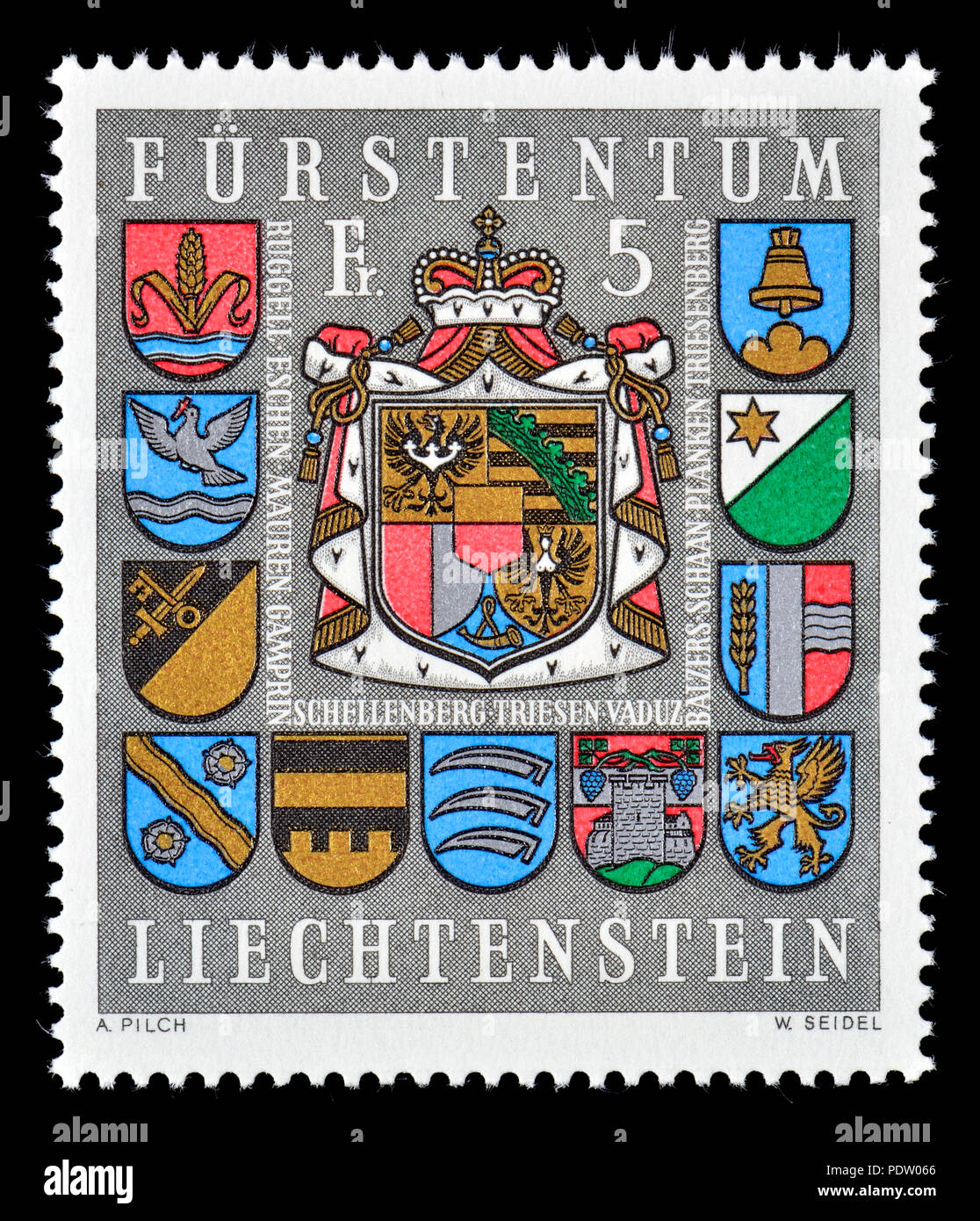 Liechtenstein postage stamp (1973) : Coats of arms of Liechtenstein and municipalities - Stock Image