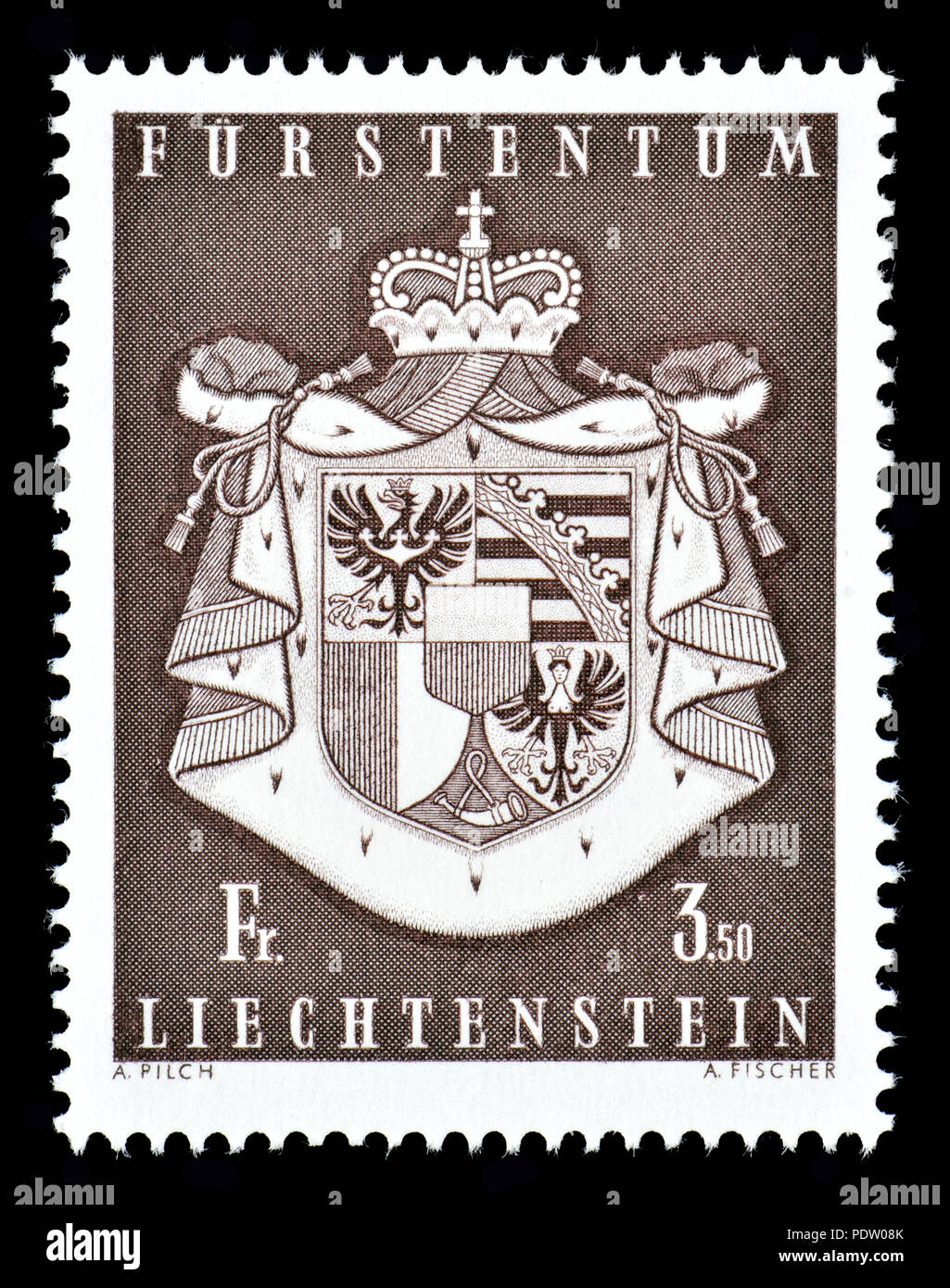 Liechtenstein postage stamp (1969): Coat of arms of Liechtenstein - Stock Image