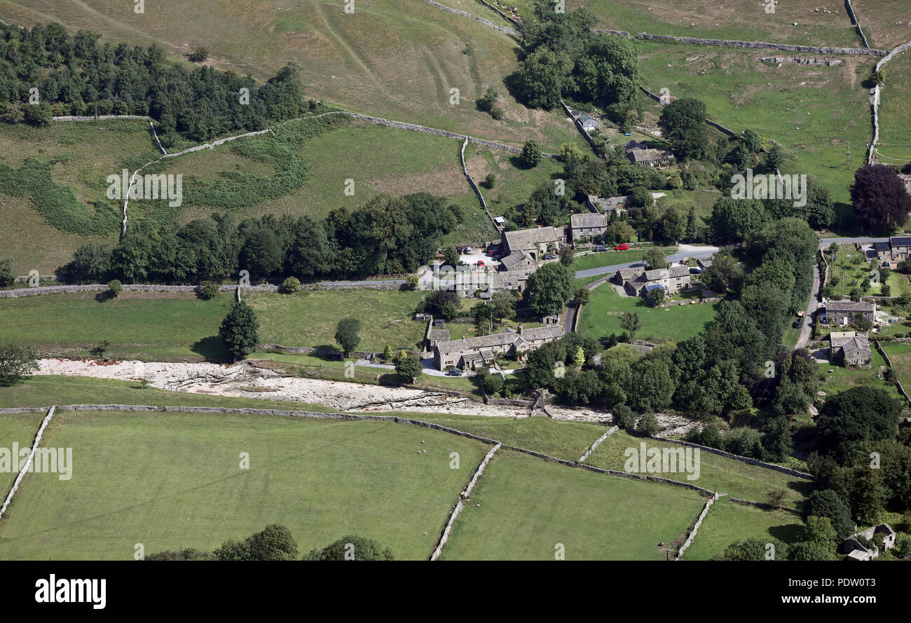 aerial view of the dried up River Skirfare (a tributary of the River Wharfe) at Litton in the Yorkshire Dales - Stock Image