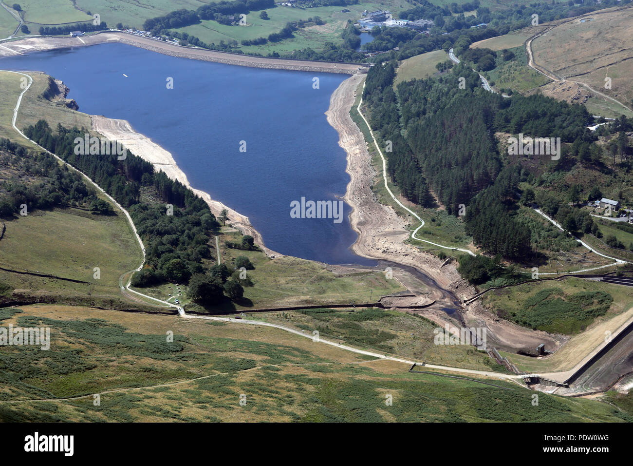 aerial view of a reservoir with low water levels near Manchester - Stock Image