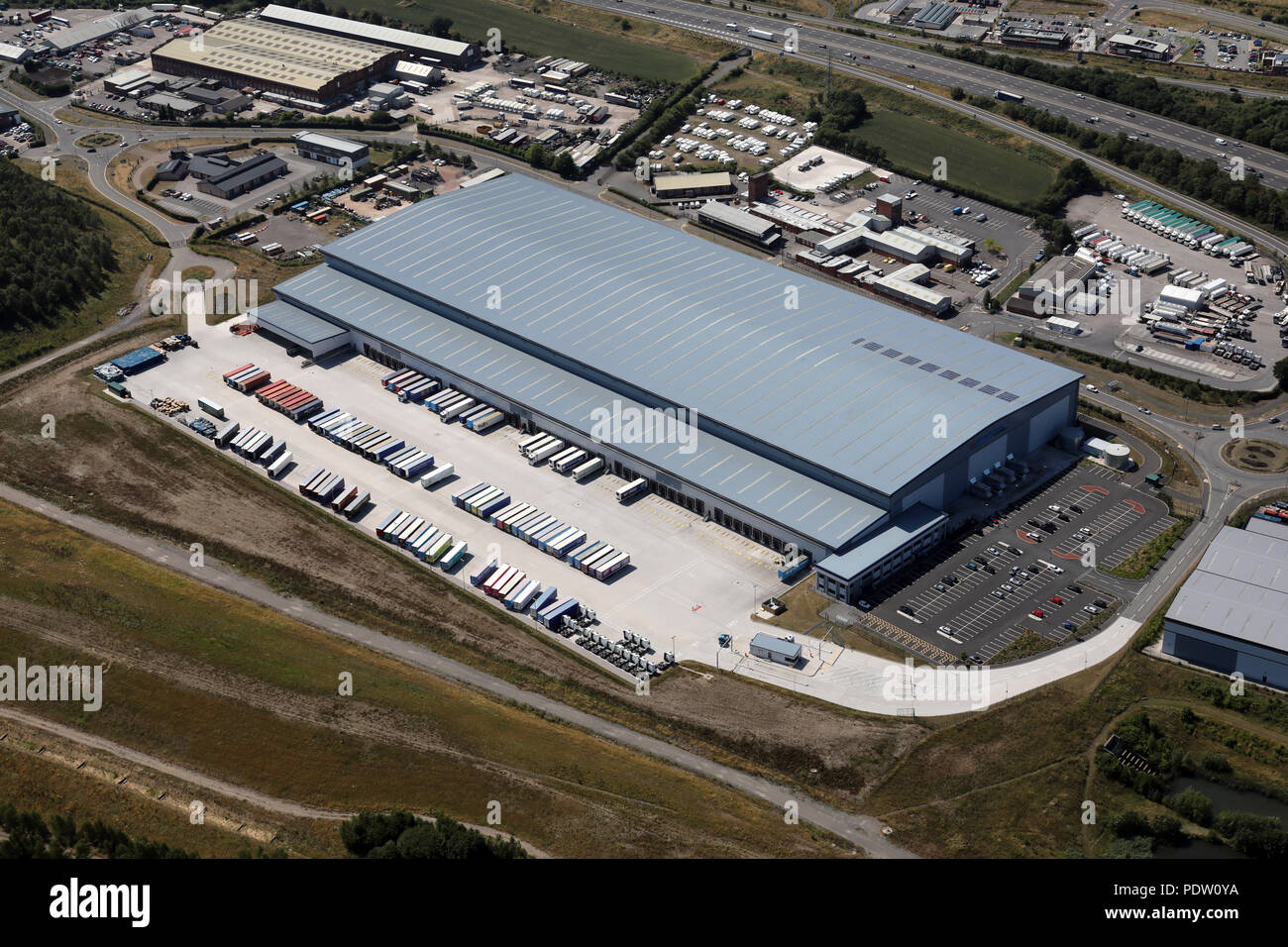 aerial view of the Great Bear Distribution unit at Markham Vale near Chesterfield - Stock Image