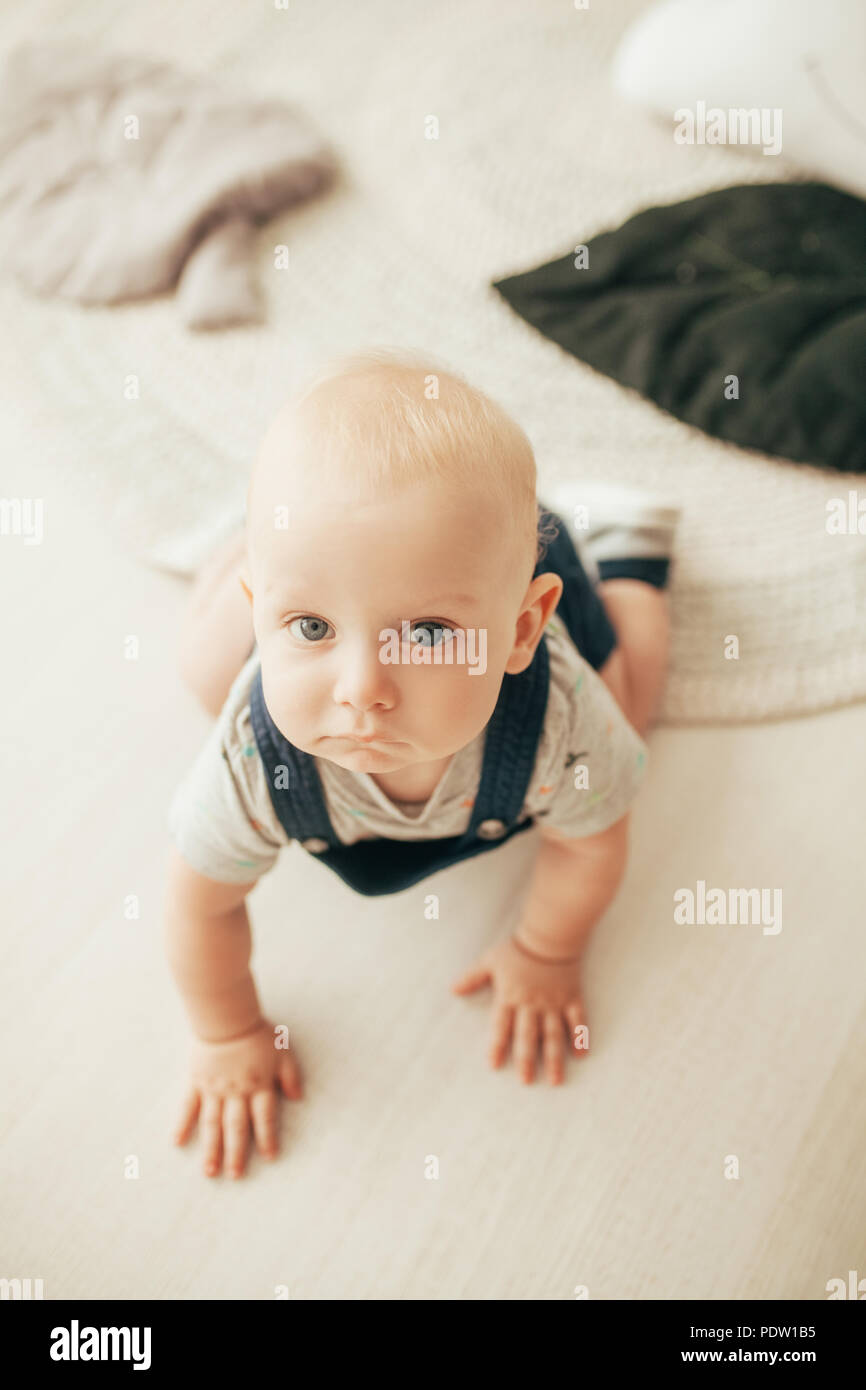 Toddler in rompers and t-shirt crawls on floor in room. Top view. - Stock Image