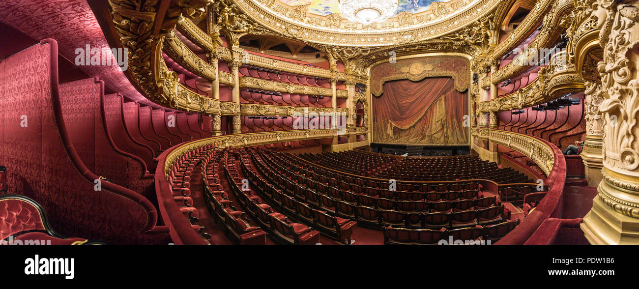 """Paris (France): Opera Garnier. The building is classified as a National Historic Landmark (French """"Monument Historique"""") Stock Photo"""