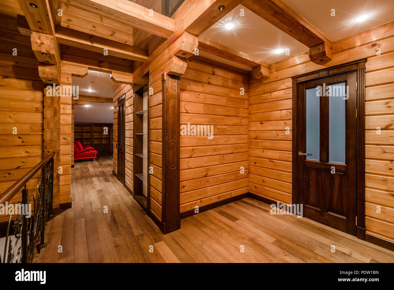 Inside of log cabin - Stock Image