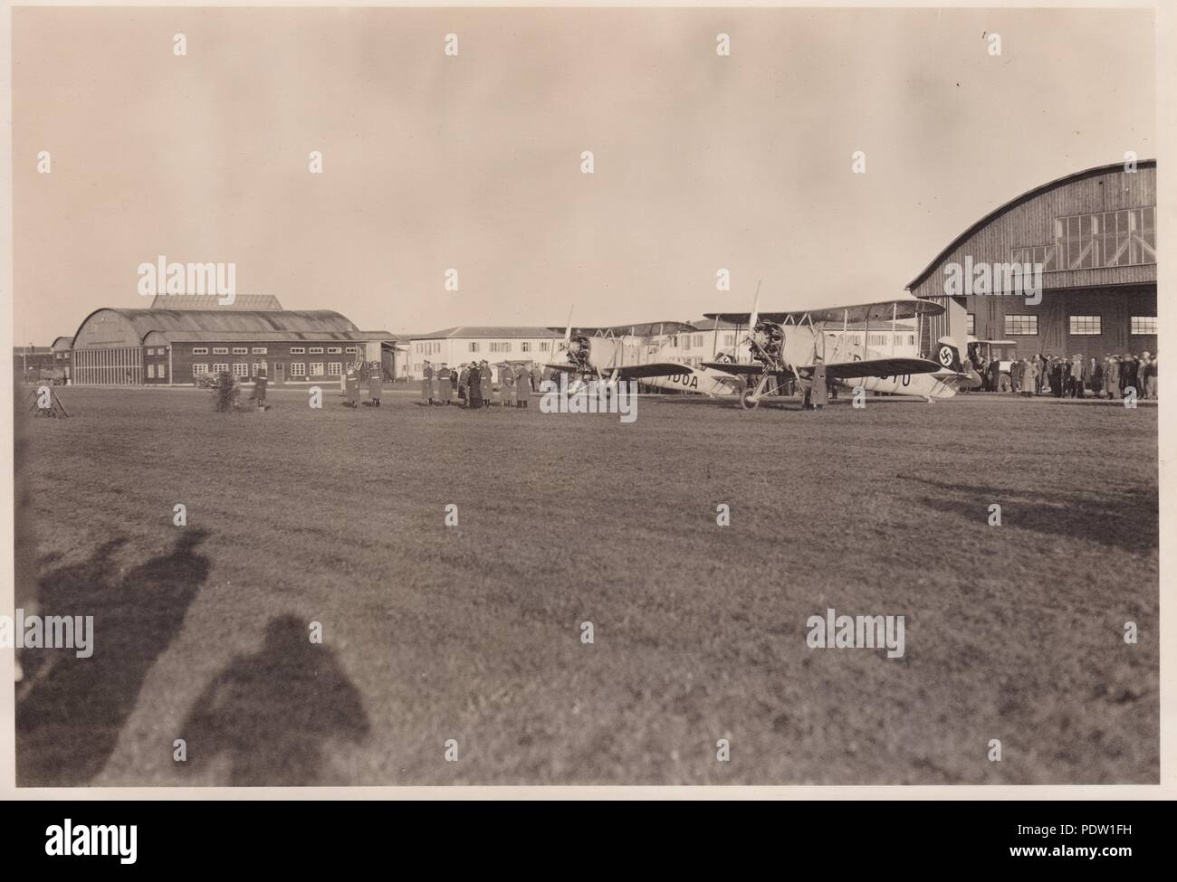 Image from the photo album of Oberfeldwebel Karl Gendner of 1. Staffel, Kampfgeschwader 40: Giebelstadt Airfield in 1936, base of 8./KG 355. - Stock Image