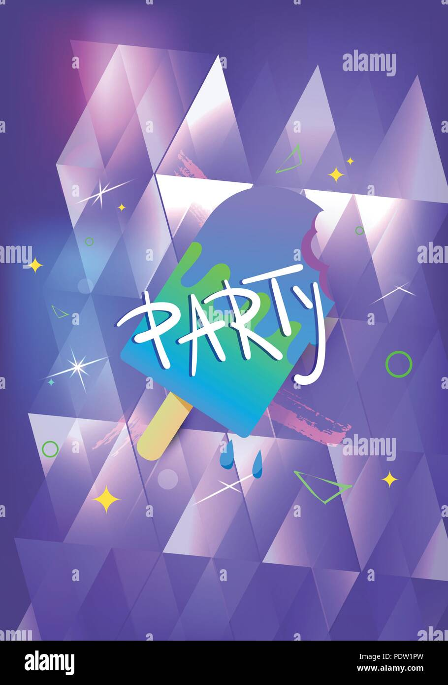 party banner with ice cream vertical flyer for holiday design with