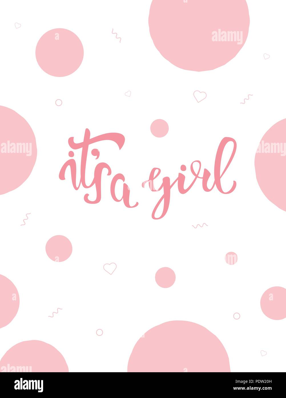 Its A Girl Baby Shower Invitation Template Handwritten Lettering - It's a girl baby shower invitation templates
