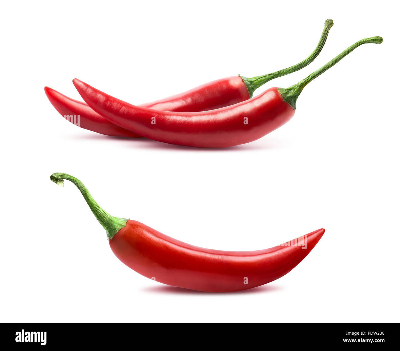 Single and double chili peppers set isolated on white background as package design element - Stock Image