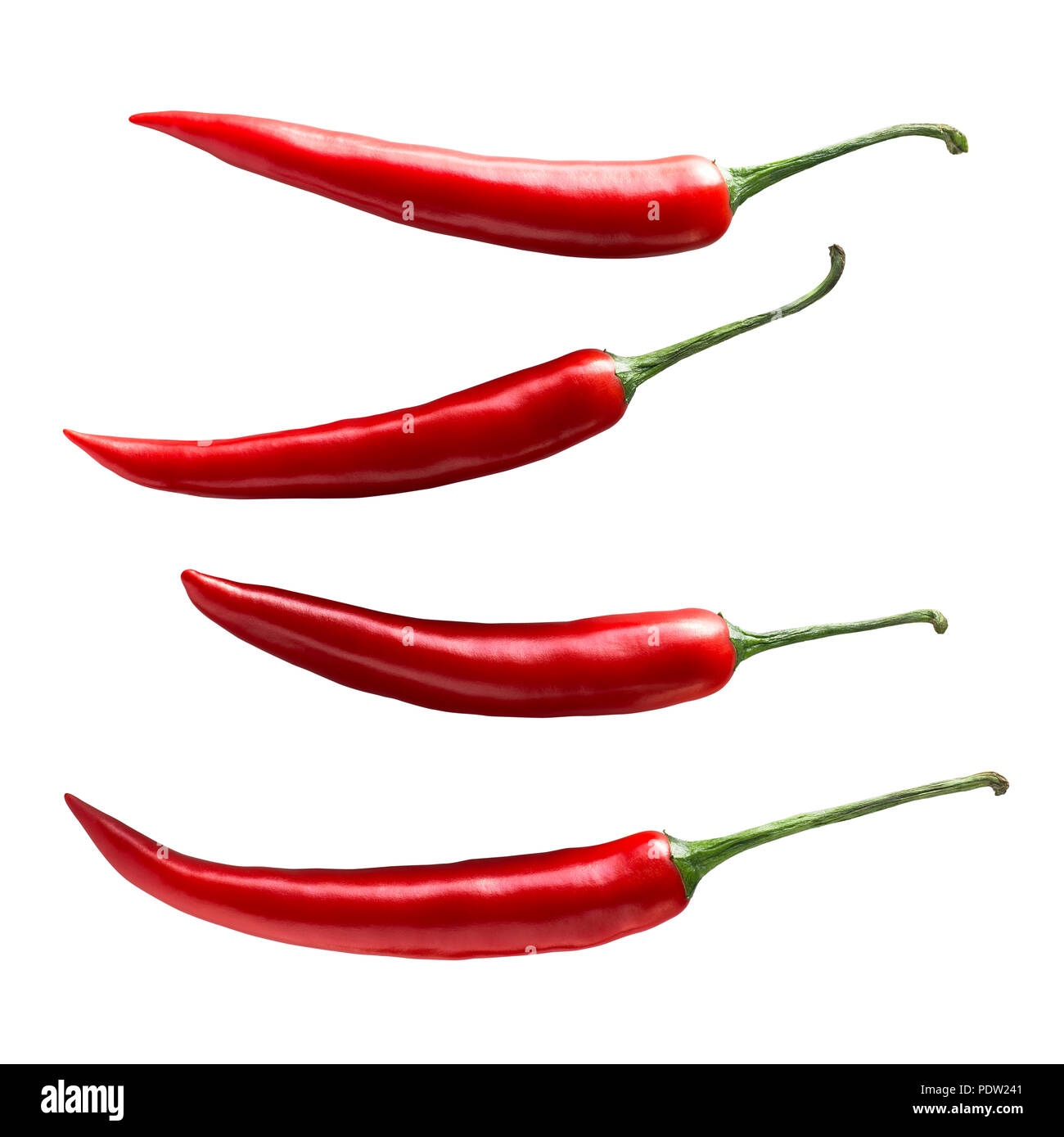Single chili pepper set isolated on white background as package design element - Stock Image