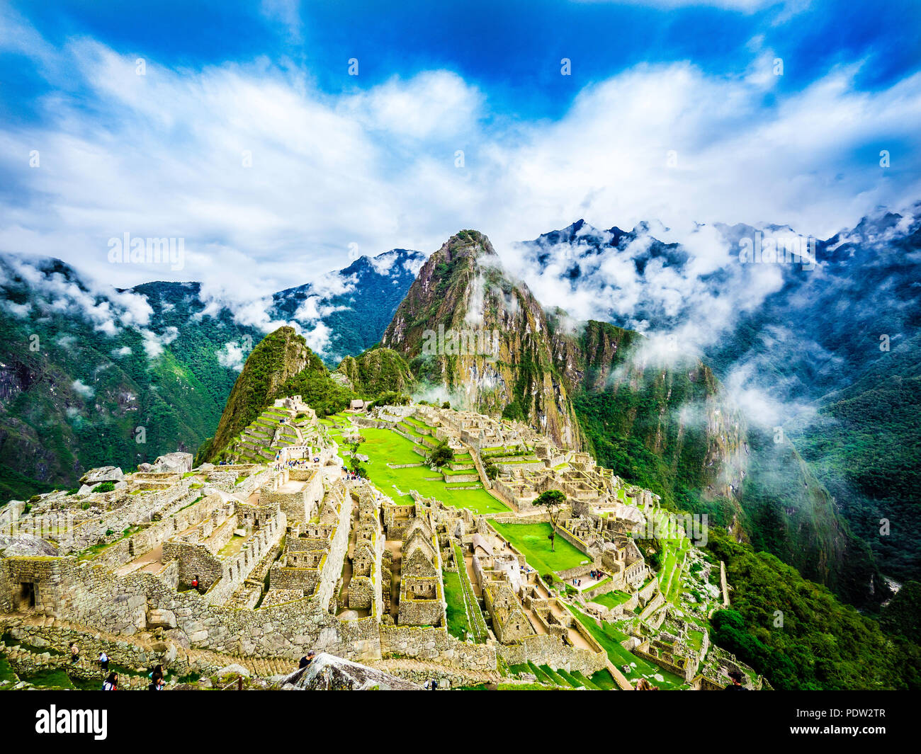 Panoramic Scenery of Machu Picchu Peru - Stock Image