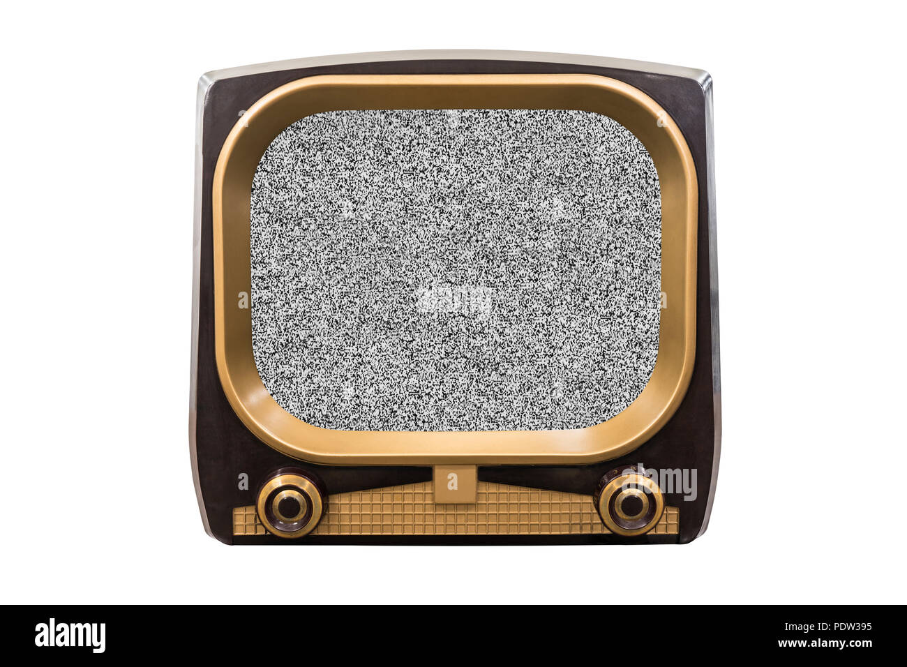 Retro 1950s television isolated on white with static screen. - Stock Image