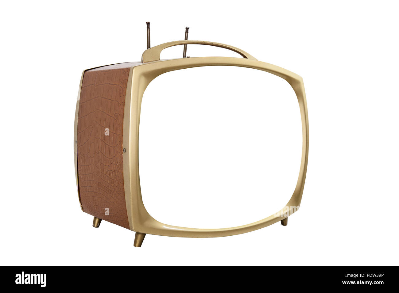 Retro 1950s portable television with cut out screen. - Stock Image