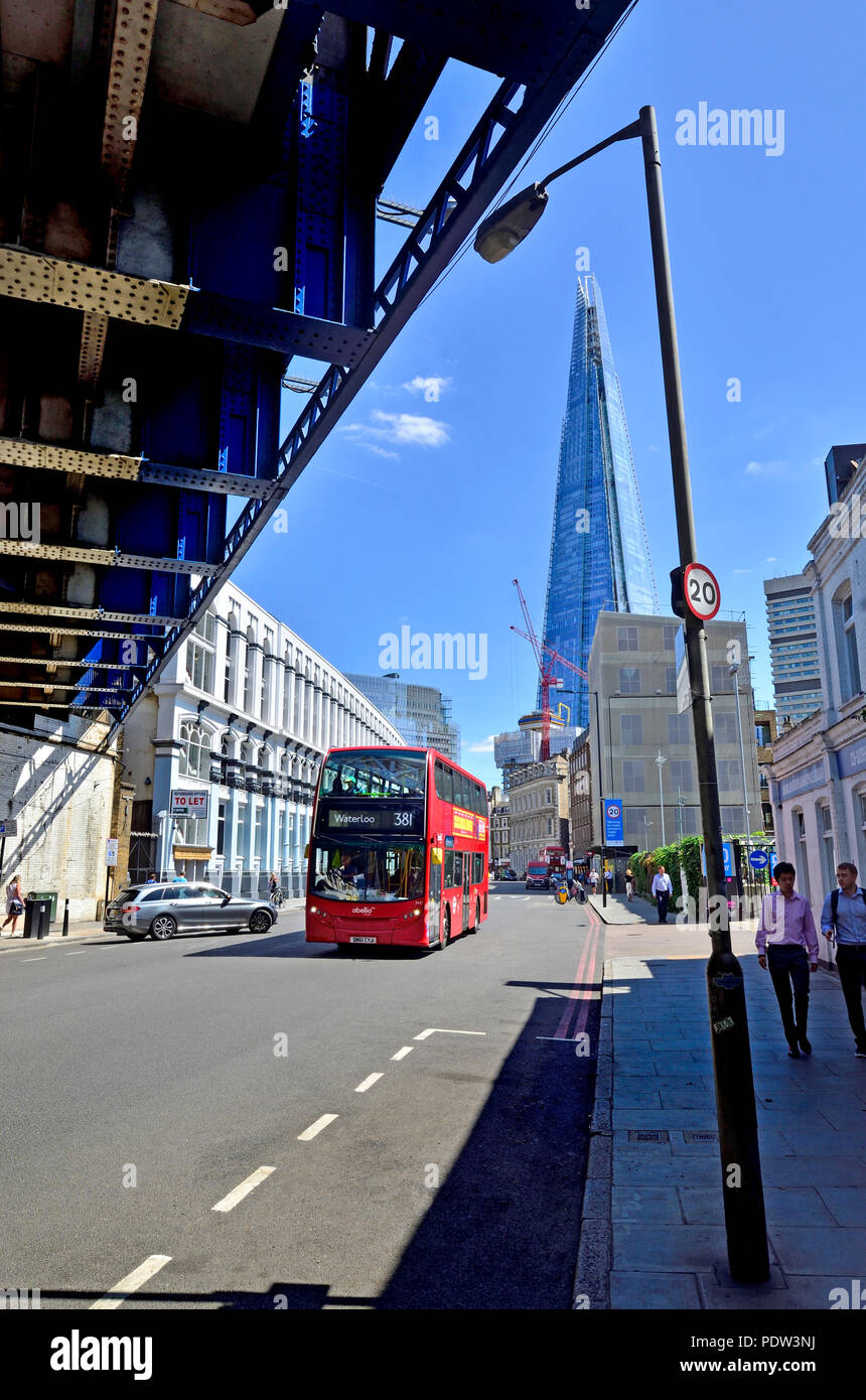 London, England, UK. The Shard seen from under a railway bridge in Southwark Street Stock Photo