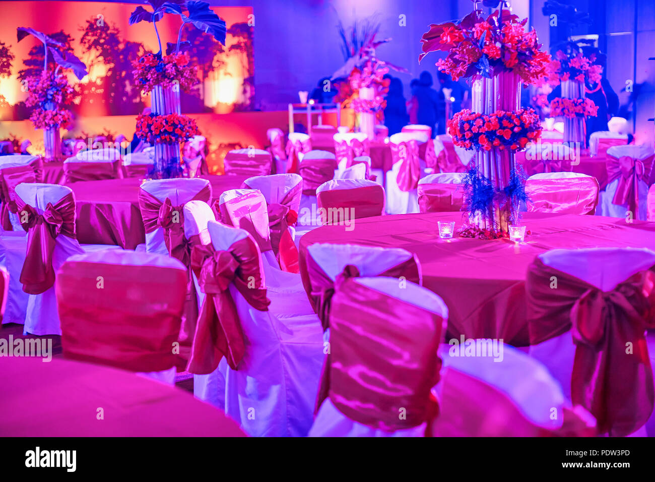 Indian wedding reception dinner table, chairs settings ...