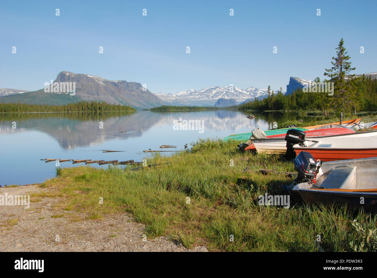 The beauty of Laponia Wilderness - Lake Laitaure Water Reflections. - Stock Image