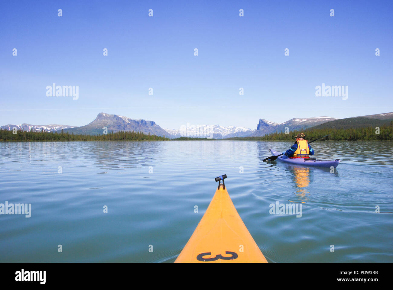 The beauty of Laponia Wilderness - Kayaking Lake Laitaure - Stock Image