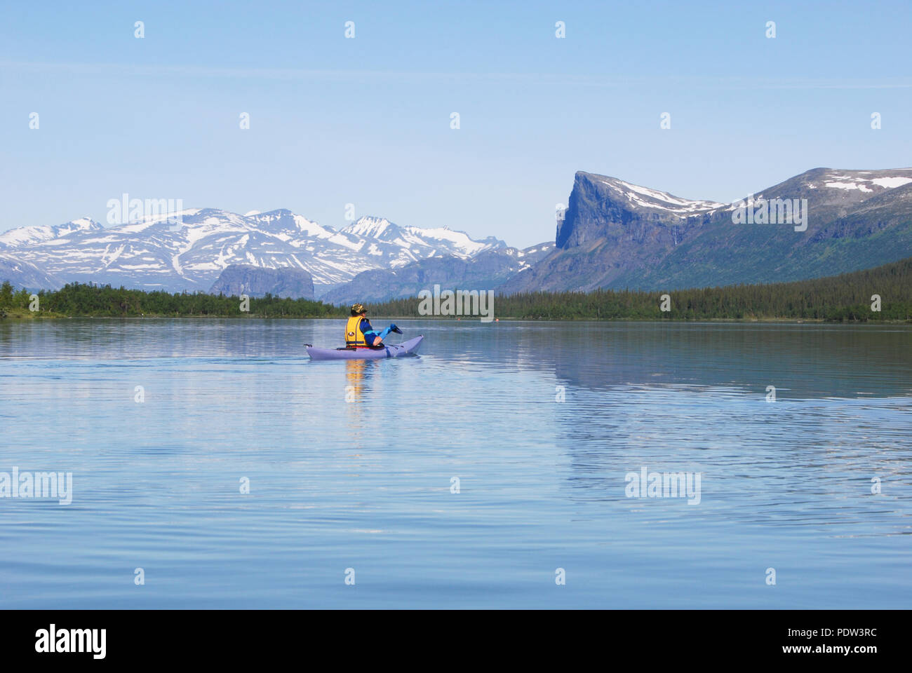 The beauty of Laponia Wilderness - Paddling Lake Laitaure - Stock Image